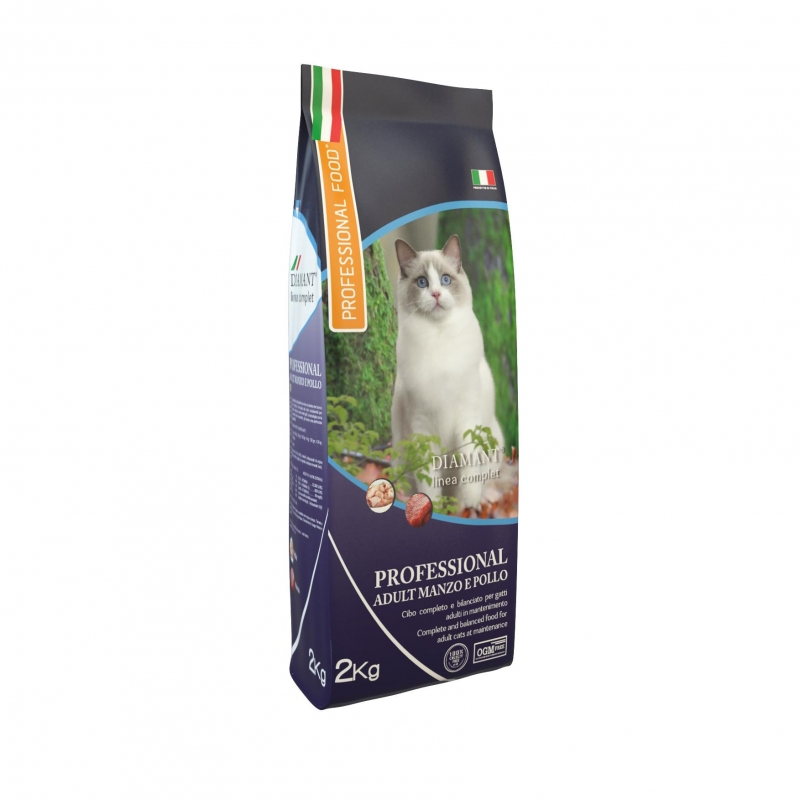 PROFESSIONAL FOOD Diamant Cat Adult Manzo E Pollo 2kg su vištiena ir jautiena